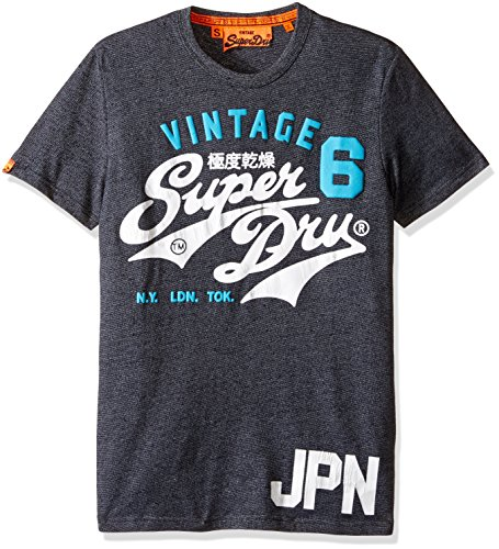 Superdry Men's Stacker Duo Rework Classic Tee, Eclipse Navy Jaspe, Large